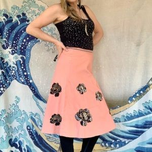 Lapis light salmon skirt with black sequin roses 2